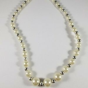 KR Marked Faux Pearls Silver Tone Bead Necklace